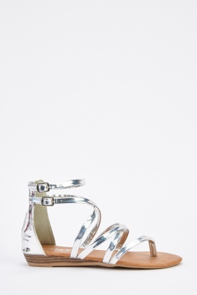 Cut Out Metallic Flat Sandals
