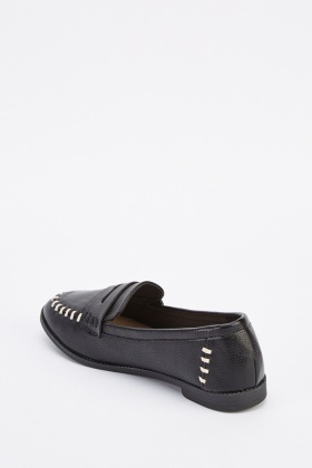 Faux Leather Slip On Loafers
