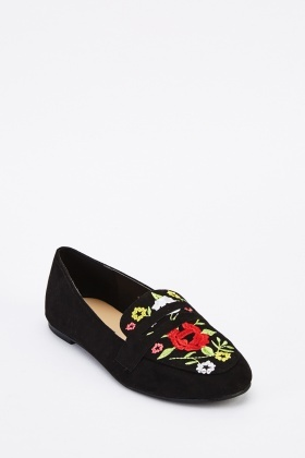 Floral Embroidered Suedette Loafers