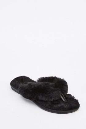 Fluffy Slip On Flat Slippers