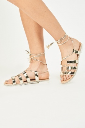 Lace Up Metallic Sandals