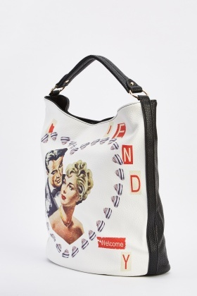 Large Novelty Print Shoulder Bag