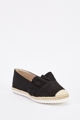 Ruffle Suedette Overlay Espadrilles