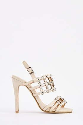 Studded Cut Out Heeled Sandals