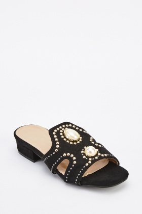 Studded Suedette Slip-On Mules