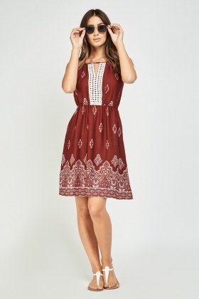 Arabesque Crochet Contrast Skater Dress