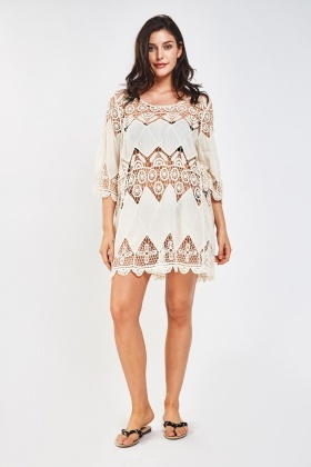 Cut Out Crochet Beach Cover Up