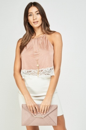 Lace Hem Halter Neck Crop Top