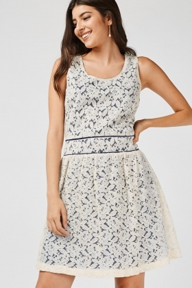 Lace Overlay Frilly Skater Dress