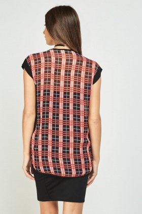 Low Plunge Sheer Tartan Wrap Top