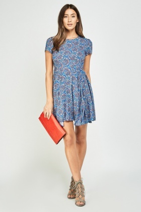 Paisley Printed Frilly Skater Dress