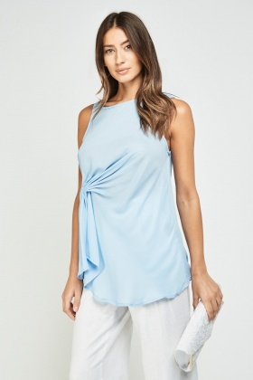 Pleated Side Chiffon Shell Top