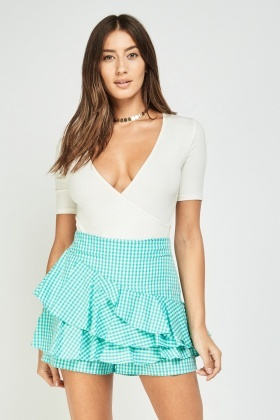 Ruffle Tiered Gingham Shorts