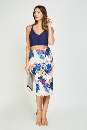 Scallop Cut Printed Midi Skirt