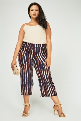 Spiral Striped Cropped Trousers