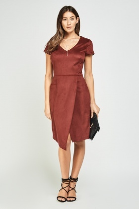Suedette Midi Wrap Dress