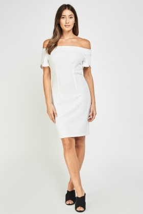 Textured Off Shoulder Bodycon Dress