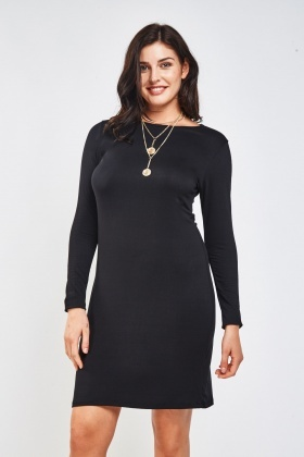 Black Basic Midi Dress