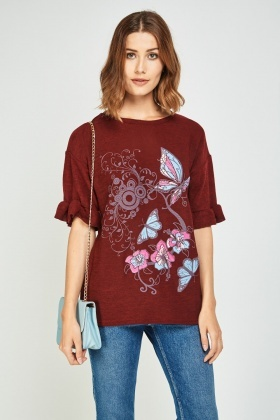 Butterfly Floral Print Jersey Top