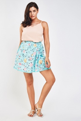 Crochet Trim Floral Skirt
