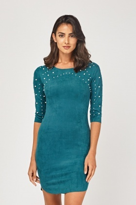 Faux Pearl Embellished Mini Suedette Dress
