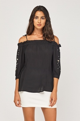 Faux Pearl Embellished Sleeve Sheer Top