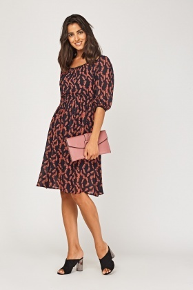 Leaf Print Sheer Midi Dress