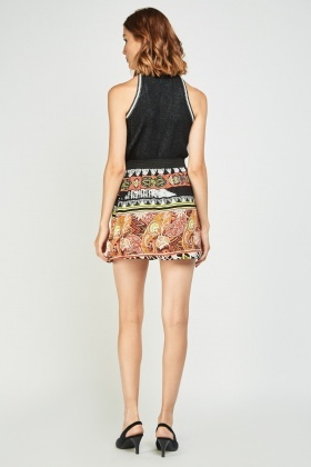 Moroccan Tile Print Flared Skirt