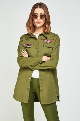 Patched Trim Long Military Jacket