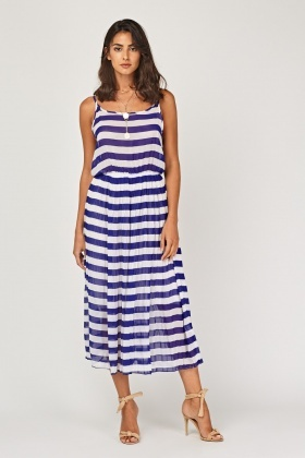 Pleated Striped Midi Dress