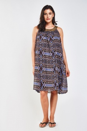 Printed Sheer Embellished Neck Dress