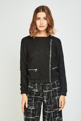 Textured Asymmetric Zipped Jacket