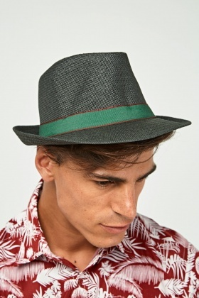 Contrast Trim Mens Fedora Hat