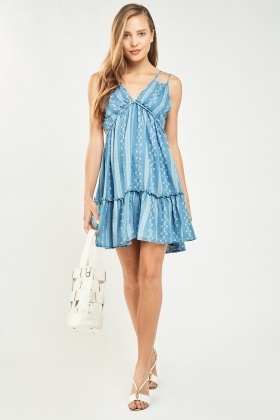 Printed Frilly Hem Tunic Dress