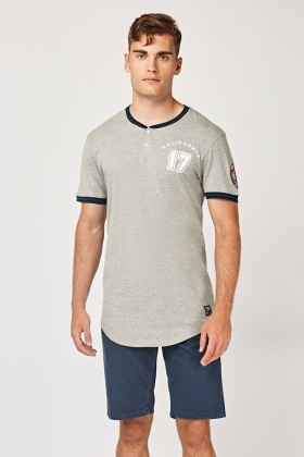 Ribbed Contrast Trim T-Shirt