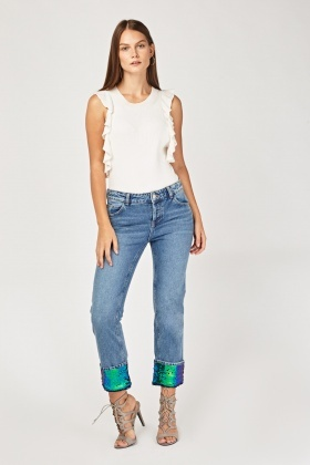 Sequined Rolled Hem Denim Jeans