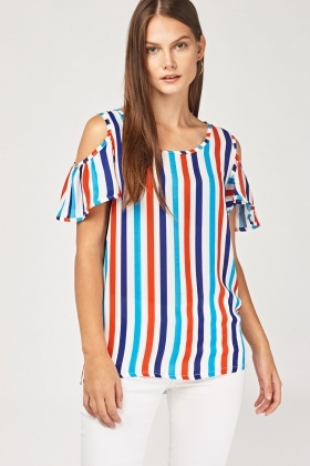 Sheer Cold Shoulder Stripe Top