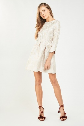 Textured Long Sleeve Babydoll Dress
