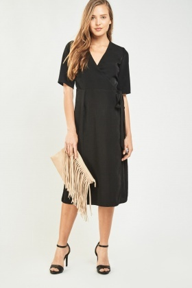 Tie Up Midi Wrap Dress