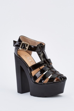 Cut Out PVC Heeled Platforms
