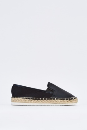Faux Leather Stitched Espadrilles