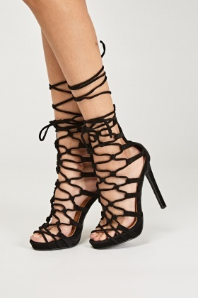 Gladiator Cut Out Suedette Heels