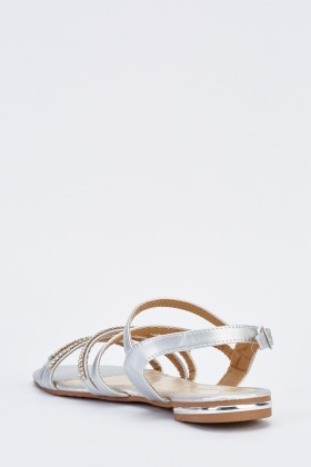 Metallic Diamonte Strappy Sandals