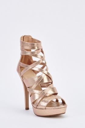 Metallic Strappy Ankle High Heels