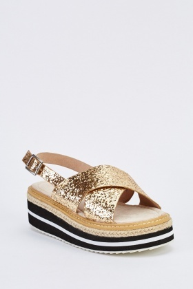 Sequinned Sling Back Platformed Sandals