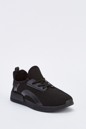 Textured Low Top Black Trainers