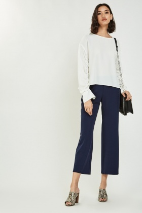 Casual Wide Leg Crop Trousers