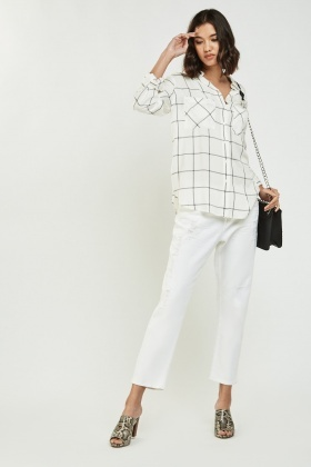 Casual Windowpane Print Shirt