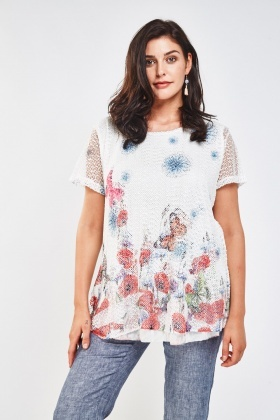Fish Net Overlay Printed Top