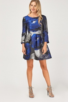 Metallic Insert Skater Dress